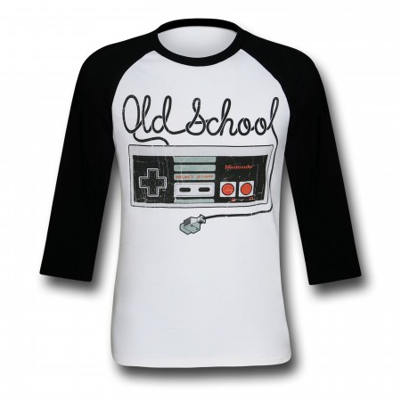 Nintendo Distressed Controller Tangle White Baseball T-Shirt