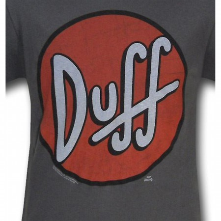 Simpsons Distressed Duff Circle Gray T-Shirt
