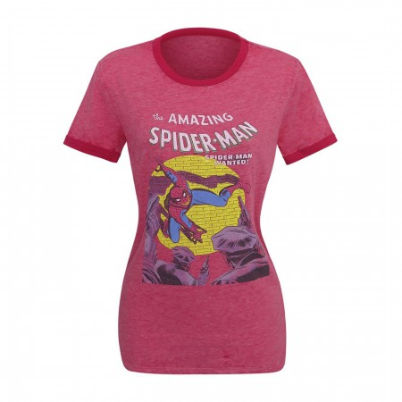 Spider-Man Wanted Women's Burnout Ringer T-Shirt