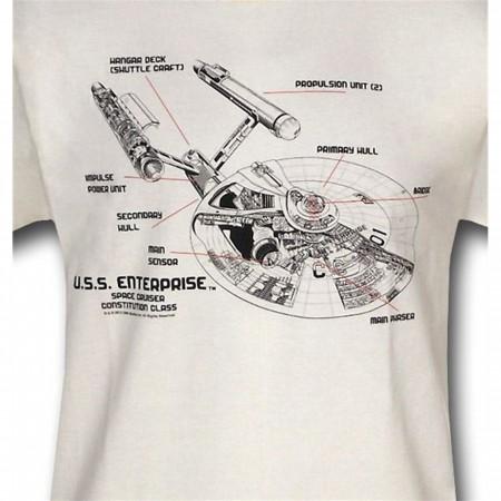 Star Trek Enterprise Schematics T-Shirt