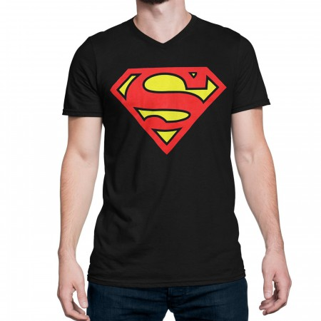 Superman Black Men's V-Neck T-Shirt