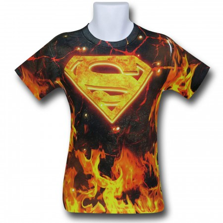 Superman Flaming Symbol Sublimated T-Shirt