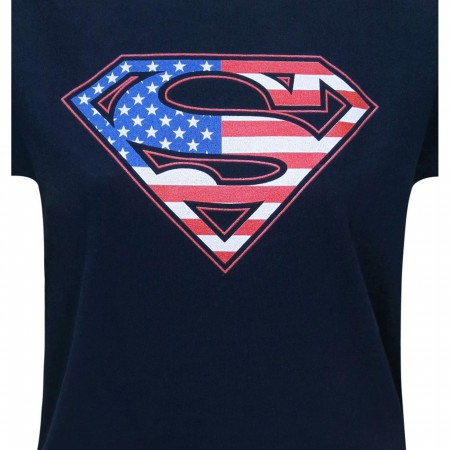 Superman Navy Flag Women's T-Shirt
