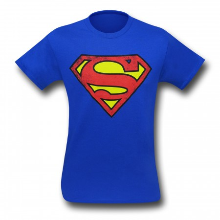 Superman Royal Blue Symbol Distressed T-Shirt