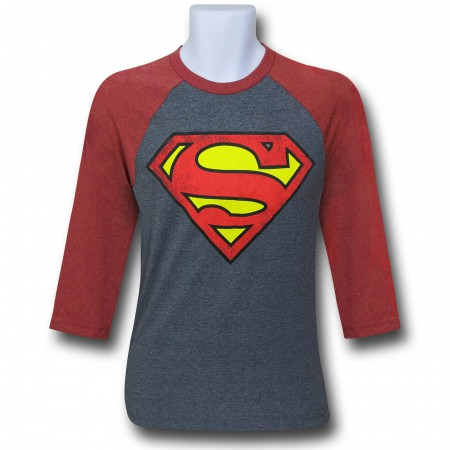 Superman Symbol Grey Baseball T-Shirt