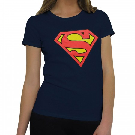 Superman Symbol Women's Navy T-Shirt