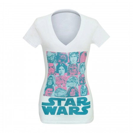 Star Wars Character Boxes Women's V-Neck T-Shirt