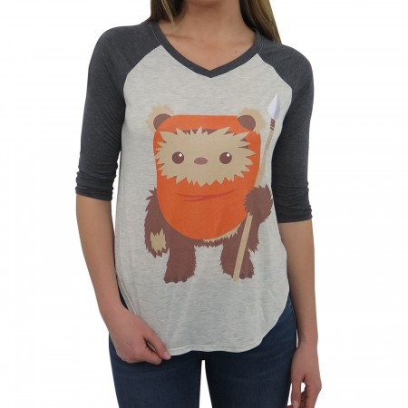 Star Wars Cute Ewok Women's Baseball T-Shirt
