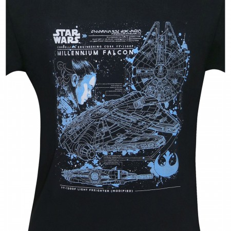 Star Wars Millennium Falcon Blueprints Men's T-Shirt