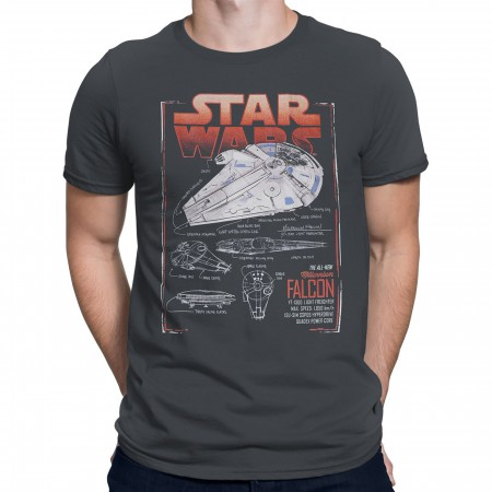 Star Wars Solo Falcon Schematics Men's T-Shirt