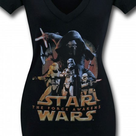 Star Wars Force Awakens Poster Women's V-Neck T-Shirt
