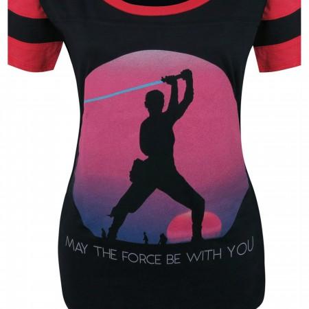 Star Wars Force Awakens Rey Sunset Women's T-Shirt