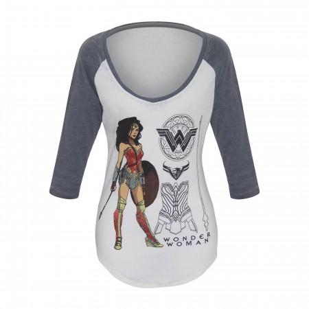 Wonder Woman Armor Pose Women's Scoop Neck Raglan