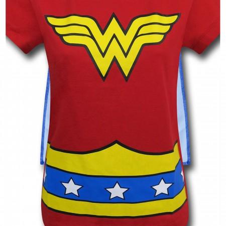 Wonder Woman Stars Caped Costume Girls T-Shirt