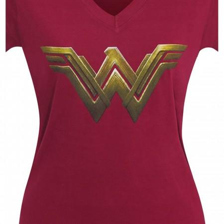 Wonder Woman Justice League Logo Women V-Neck T-Shirt