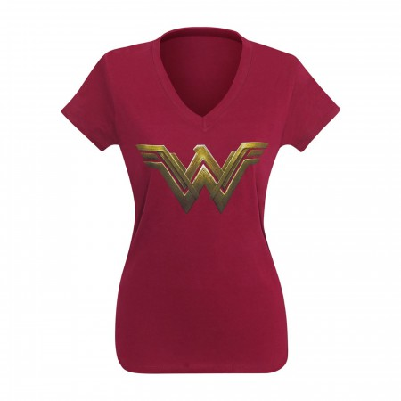Wonder Woman Justice League Logo Women V-Neck T-Shirt