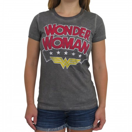 Wonder Woman Logo Oil Wash Women's T-Shirt
