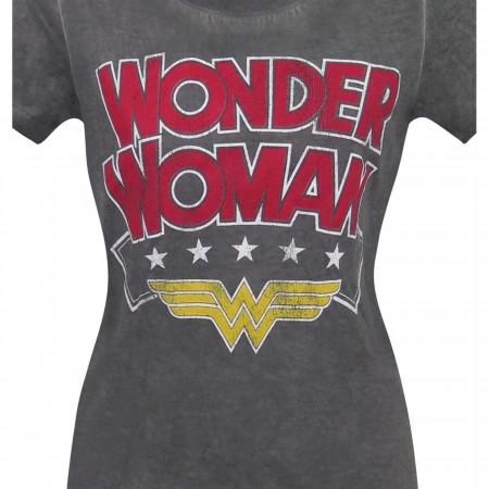 Wonder Woman Logo Oil Wash Women's T-Shirt