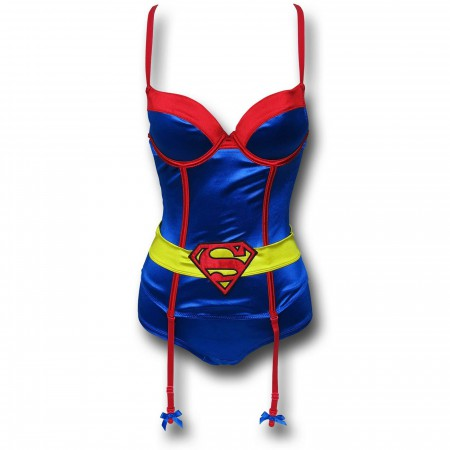 Superman Corset & Panty Set w/ Garters
