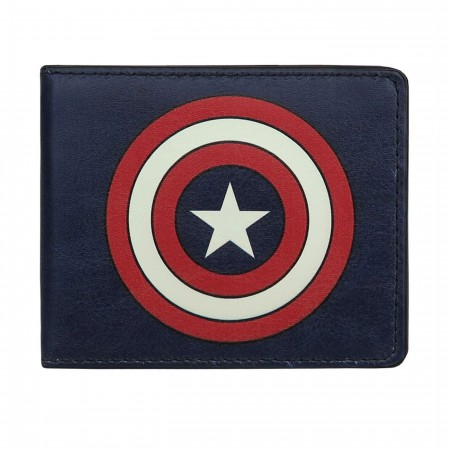Captain America Shield Navy Bi-Fold Wallet