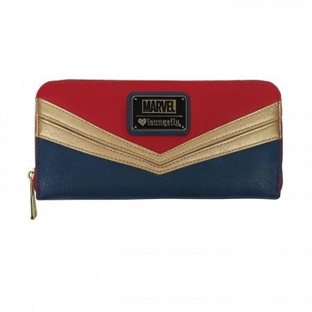 Captain Marvel Faux Leather Zipper Wallet