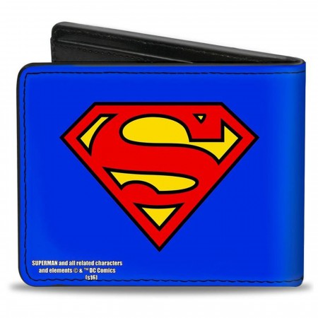 Superman Symbol on Blue Vegan Leather Bi-Fold Wallet