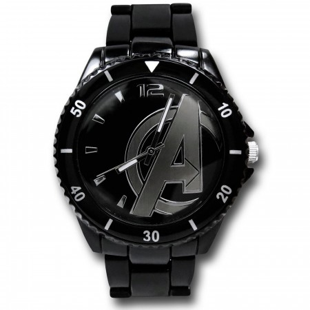 Avengers Symbol Black Watch with Metal Band