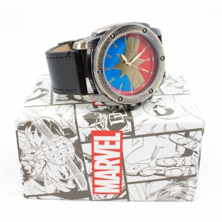 Captain Marvel Symbol Watch with Adjustable Strap