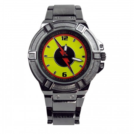 Flash Reverse Flash Symbol Black Watch with Metal Band