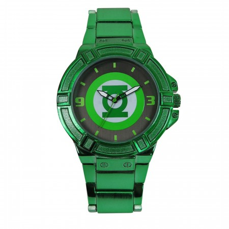 Green Lantern Symbol Watch with Metal Band