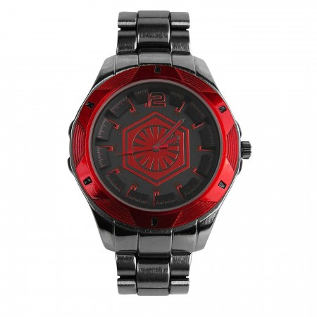 Star Wars First Order Symbol Black Watch with Metal Band
