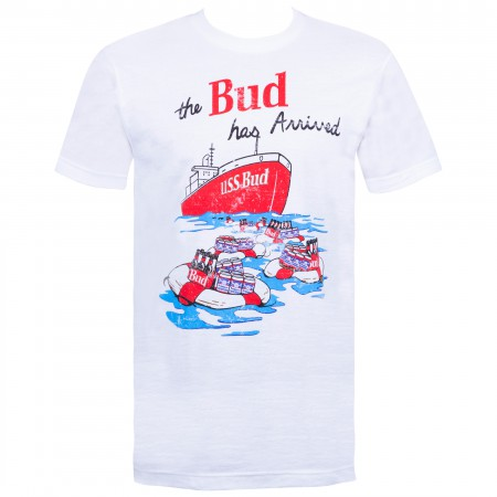 Budweiser Men's White Retro USS Bud T-Shirt