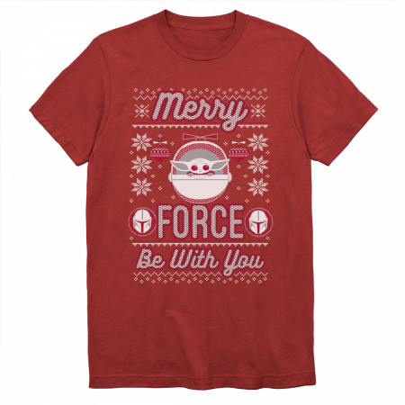 Star Wars Mandalorian The Child Merry FORCE Be with You T-Shirt