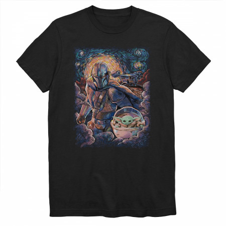 Star Wars Mandalorian and The Child Starry Night T-Shirt