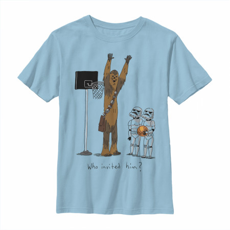 Star Wars Who Invited Him Chewbacca Playing Basketball T-Shirt