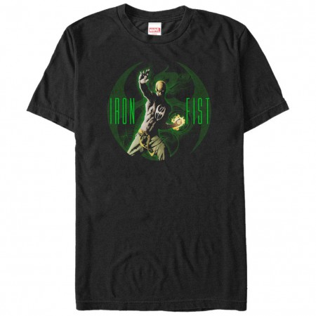 Marvel Teams Iron Fist Glowing Men's Black T-Shirt