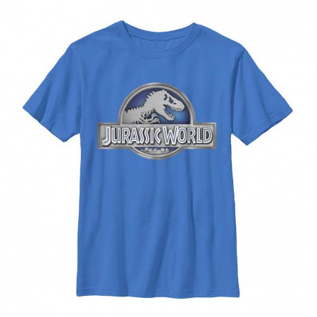 Jurassic World Basic Logo Blue Youth T-Shirt