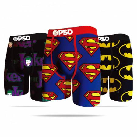 DC Comics Batman, Superman, and Joker Symbols Men's PSD Boxer Briefs 3-Pack
