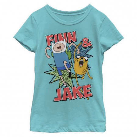 Adventure Time Finn and Jake Blue Youth Girls T-Shirt