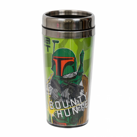 Boba Fett Bounty Hunter 16 Ounce Travel Mug