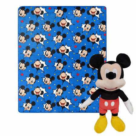 Disney Mickey Mouse Faces 40 X 50 Silk Touch with Plush Hugger