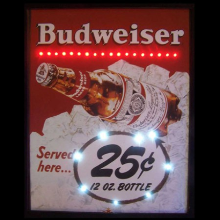 Budweiser Served Here Led Poster