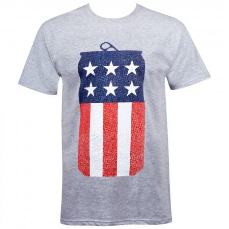 Miller Lite Beer American Flag USA Can T-Shirt