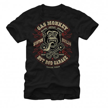 Gas Monkey Garage Hot Rod Garage Black T-Shirt