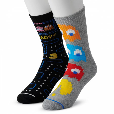 Pac-Man Arcade Chase and Game Board 2-Pack of Athletic Crew Socks