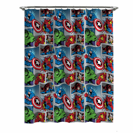 Marvel Comics Hanging Out Shower Curtain and Hook Set