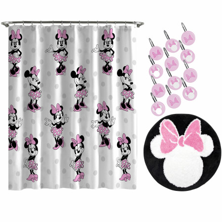 Disney Minnie Mouse All Over Print 14pc Shower Curtain and Rug Set