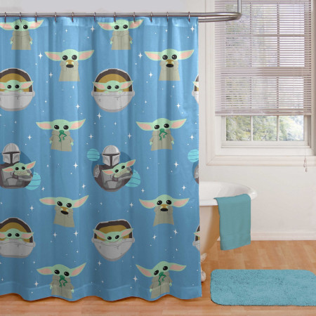 Star Wars The Mandalorian and Grogu 14pc Shower Curtain and Rug Set