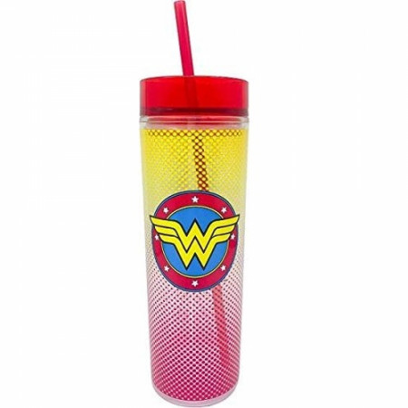 Wonder Woman Symbol Travel Mug with Straw