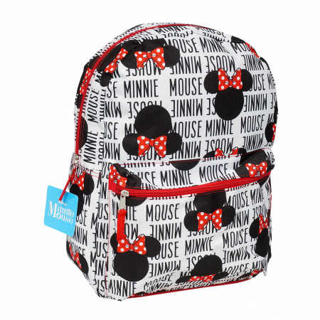 Disney Minne Mouse Text and Heads All Over Print Backpack